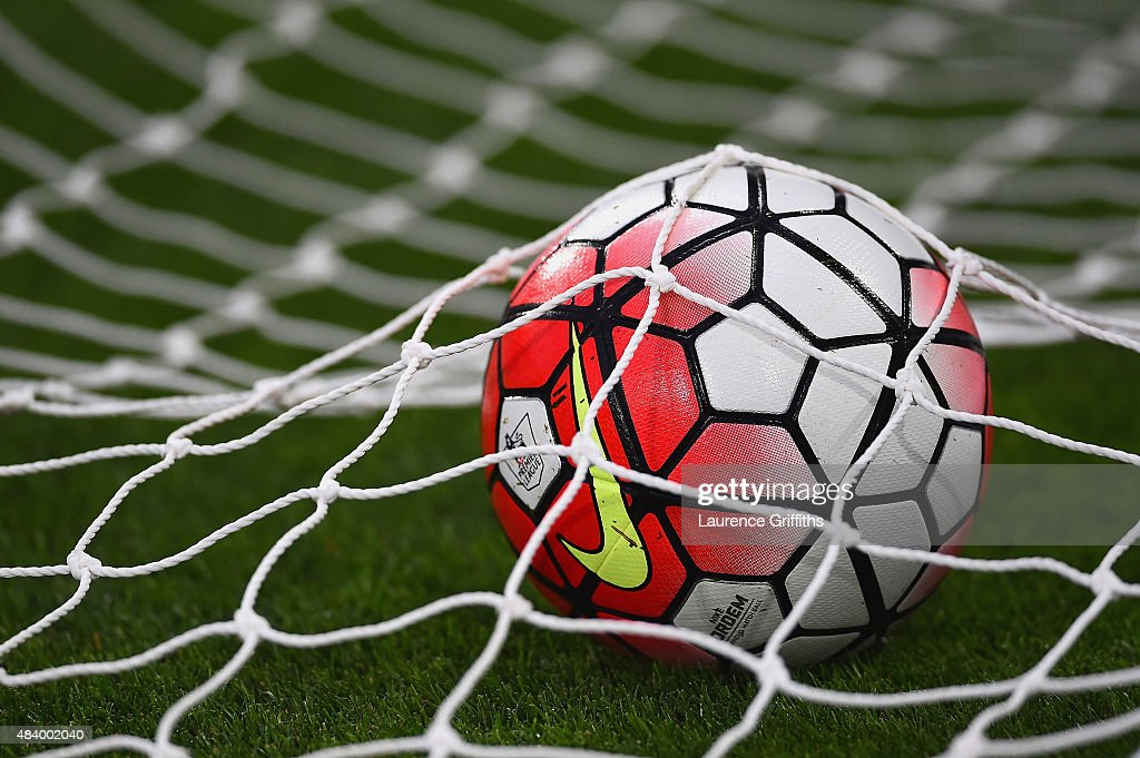The matchball is seen in the gola net prior to the Barclays Premier League match between Aston Villa and Manchester United on August 14 2015 in...