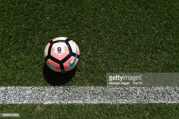 The matchball is seen inside the stadium prior to the Emirates FA Cup Final between Arsenal and Chelsea at Wembley Stadium on May 27 2017 in London...