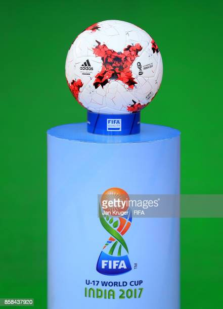 The matchball is seen on a plinth during the FIFA U17 World Cup India 2017 group A match between Colombia and Ghana at Jawaharlal Nehru Stadium on...