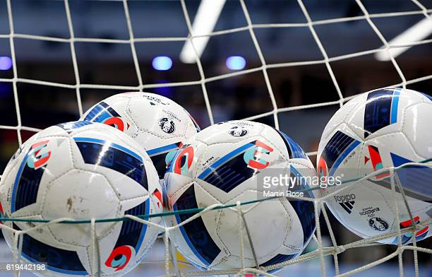 The matchballs are seen before the Futsal International Friendly match between Germany and England at Inselparkhalle on October 30 2016 in Hamburg...