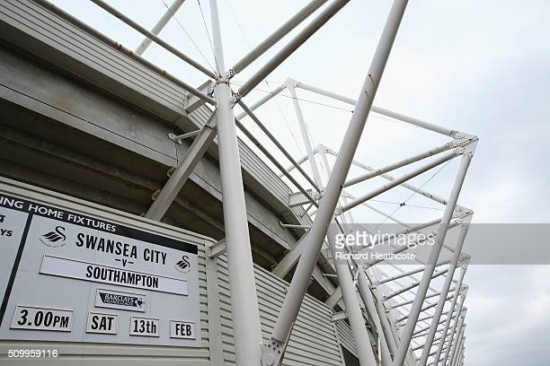 The matchday fixture is displayed at the stadium prior to the Barclays Premier League match between Swansea City and Southampton at Liberty Stadium...