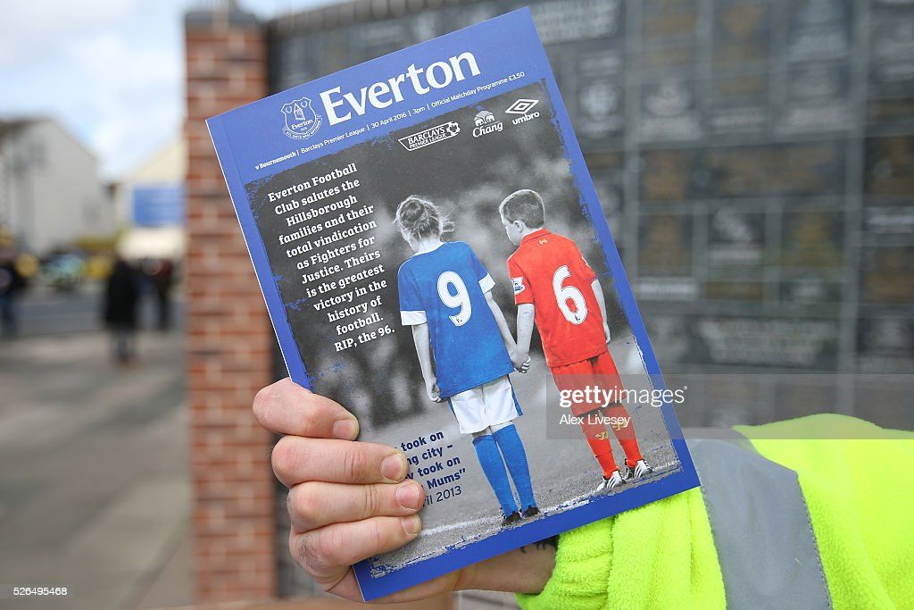 The matchday programmes commemorating the Hillsborough disaster are on sale outside the stadium prior to the Barclays Premier League match between Everton and A.F.C. Bournemouth at Goodison Park on April 30, 2016 in Liverpool, England.