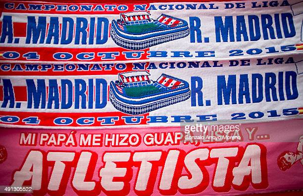 The matchs sacrf is displayed at a merchandaising stall before the La Liga match between Club Atletico de Madrid and Real Madrid CF at Vicente...