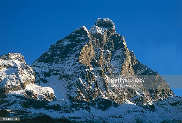 The Matterhorn 4478 m seen from BreuilCervinia Valtournenche Aosta Valley Italy