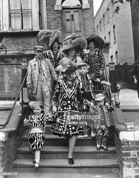 The Matthews family Pearly Kings and Queens of Hampstead venture out in their costumes 22nd May 1947