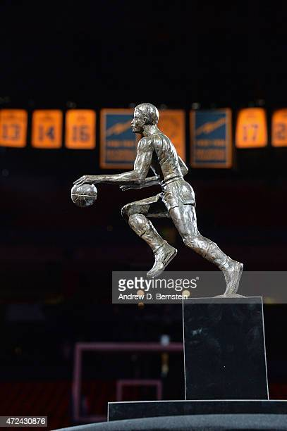 The Maurice Podoloff Trophy before a game between the Memphis Grizzlies and Golden State Warriors in Game Two of the Western Conference Semifinals of...