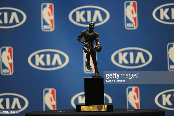 The Maurice Podoloff Trophy is seen at a press conference where it was announced that Stephen Curry won the 201516 Kia Most Valuable Player Award on...