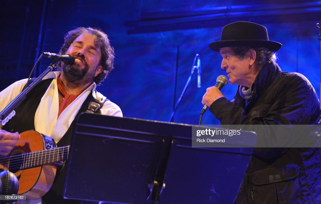 The Mavericks Raul Malo is joined onstage by Singer/Songwriter Rodney Crowell during The Mavericks Album release concert for there new album ' In Time' at The Bowery Ballroom on February 25, 2013 in New York City.