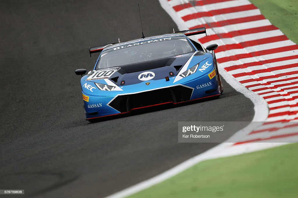 The Max Van Splunteren and Jeroen Mul Attempto Racing Lamborghini Huracan GT3 drives during practice for the Blancpain GT Series Sprint Cup at Brands...
