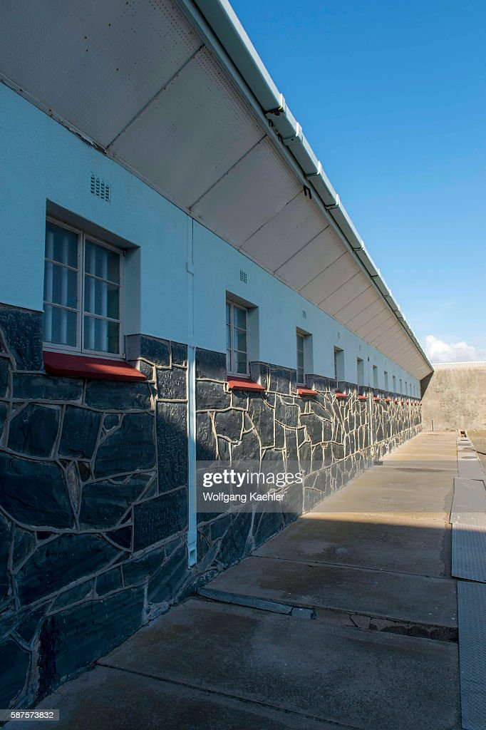 The maximum security prison on Robben Island which is an island in Table Bay 69 km west of the coast of Cape South Africa and has been used for the...