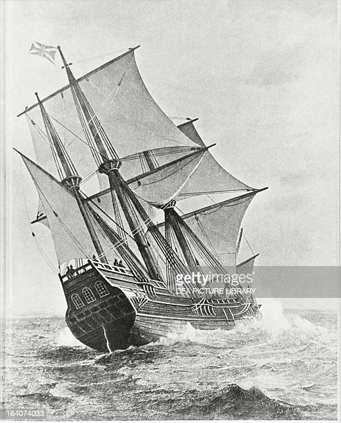 The Mayflower the British ship that brought the first settlers from New England to America in 1620 engraving