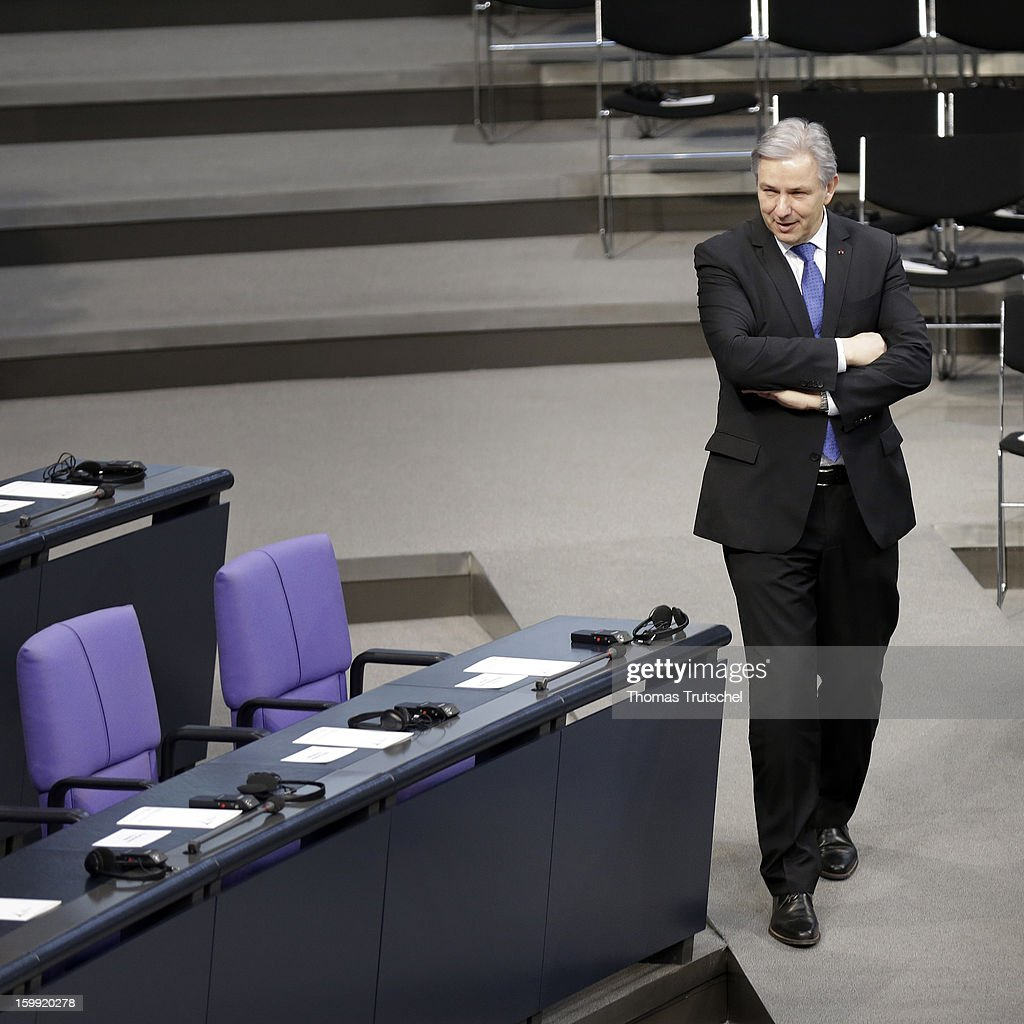 The Mayor of Berlin, Klaus Wowereit is pictured in the Chamber of Reichstag, the seat of the German Parliament (Bundestag) is pictured on January 22, 2013 in Berlin.