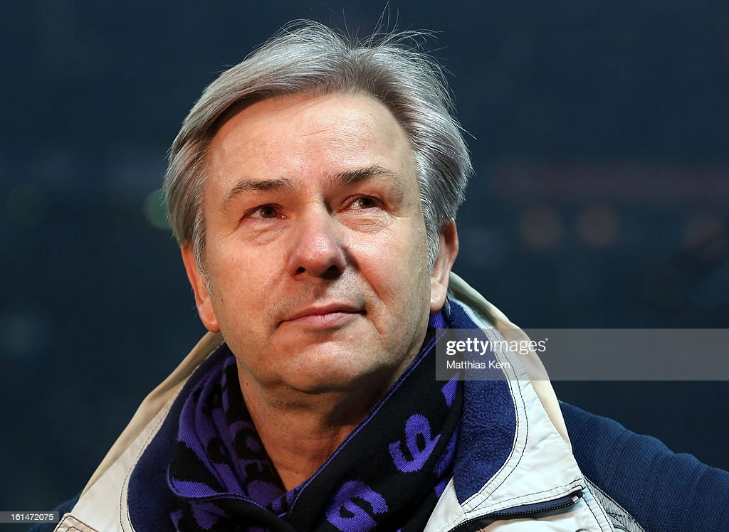 The Mayor of Berlin Klaus Wowereit looks on prior to the Second Bundesliga match between Hertha BSC Berlin and 1.FC Union Berlin at Olympic Stadium on February 11, 2013 in Berlin, Germany.