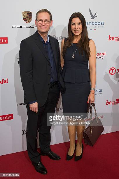The mayor of Berlin Michael Mueller and Alexandra Polzin attends the Medienboard BerlinBrandenburg Reception at Ritz Carlton on February 7 2015 in...