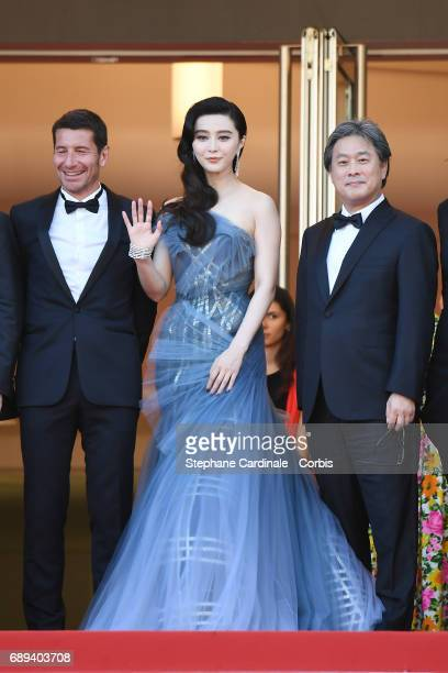 The Mayor of Cannes David Lisnard Fan Bingbing and Park Chanwook attend the Closing Ceremony during the 70th annual Cannes Film Festival at Palais...