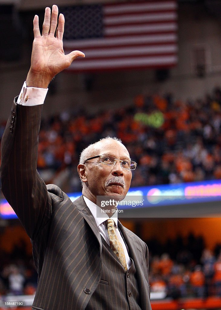The mayor of Detroit, Dave Bing waives to the crowd during the Syracuse Orange win over the Detroit Titans at the Carrier Dome on December 17, 2012 in Syracuse, New York.