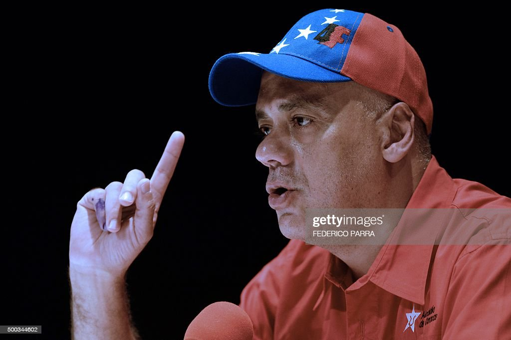 The Mayor of Libertador municipality Jorge Rodriguez speaks during a press conference at the United Socialist Party of Venezuela headquarters in...