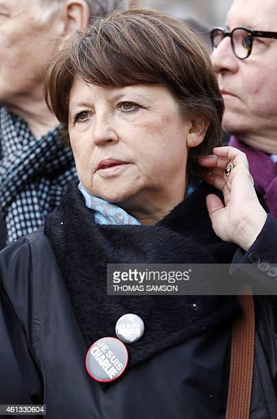 The Mayor of Lille and Socialist Party member Martine Aubry takes part in a Unity rally Marche Republicaine on January 11 2015 in Paris in tribute to...