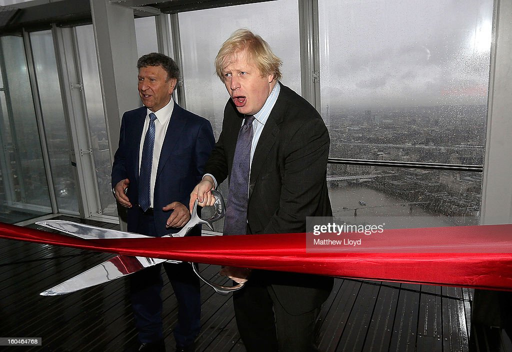 The Mayor of London, <a gi-track='captionPersonalityLinkClicked' href=/galleries/search?phrase=Boris+Johnson&family=editorial&specificpeople=209016 ng-click='$event.stopPropagation()'>Boris Johnson</a> (R) and Irvine Sellar, developer of the Shard, cut a ribbon to officially open to the public the View from the Shard on February 1, 2013 in London, England. Level 72 is the highest viewing gallery in The View from The Shard, and the highest vantage point in Western Europe.