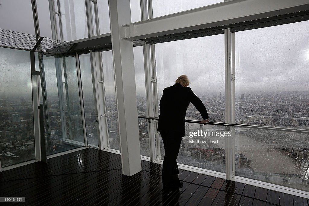 The Mayor of London Boris Johnson looks out over London from the View from the Shard on it's opening morning on February 1, 2013 in London, England. Level 72 is the highest viewing gallery in The View from The Shard, and the highest vantage point in Western Europe.