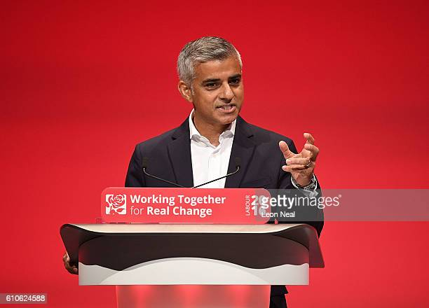 The Mayor of London Sadiq Khan addresses the Labour conference for the first time since his election on September 27 2016 in Liverpool England On day...