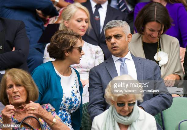 The Mayor of London Sadiq Khan at Centre Court for the Gentlemen's Singles Final at Wimbledon on July 16 2017 in London England