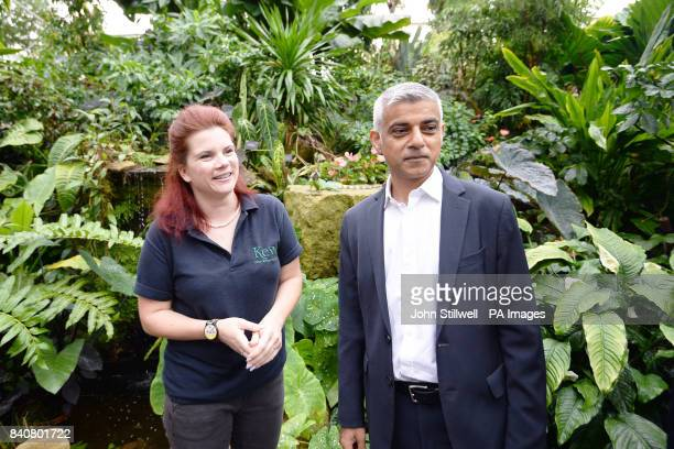 The Mayor of London Sadiq Khan during a visit to the Royal Botanic Gardens Kew Richmond to encourage community groups to apply for his pound1 million...