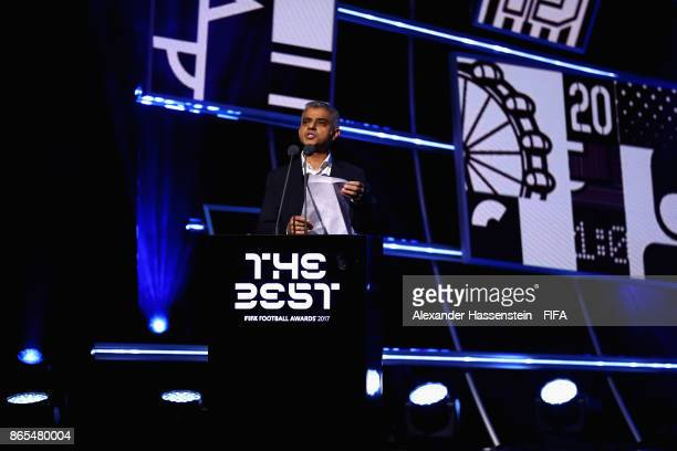 The mayor of London Sadiq Khan speaks during The Best FIFA Football Awards at The May Fair Hotel on October 23 2017 in London England