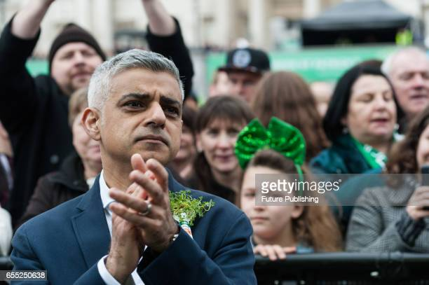 The Mayor of London Sadiq Khan takes part in the annual St Patricks Day celebration on March 19 2017 in London United Kingdom PHOTOGRAPH BY Wiktor...