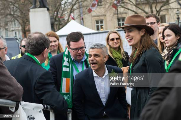 The Mayor of London Sadiq Khan takes part in the annual St Patricks Day celebration at London's Trafalgar Square on March 19 2017 in London England...