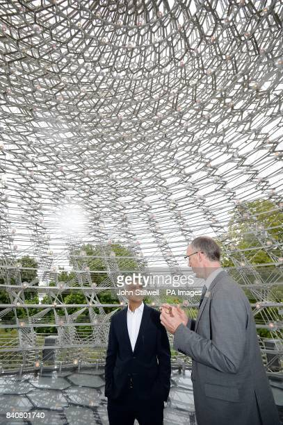The Mayor of London Sadiq Khan with Director Richard of Kew Gardens Deverell during a visit to the Royal Botanic Gardens Kew Richmond to encourage...