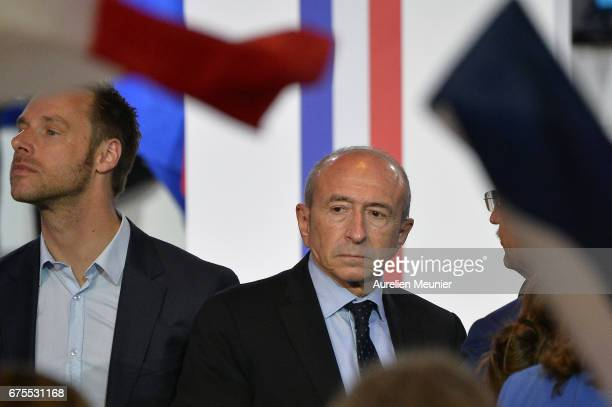 The Mayor of Lyon Gerard Collomb arrives a French Presidential Candidate Emmanuel Macron is about to give a political meeting at Grande Halle de La...