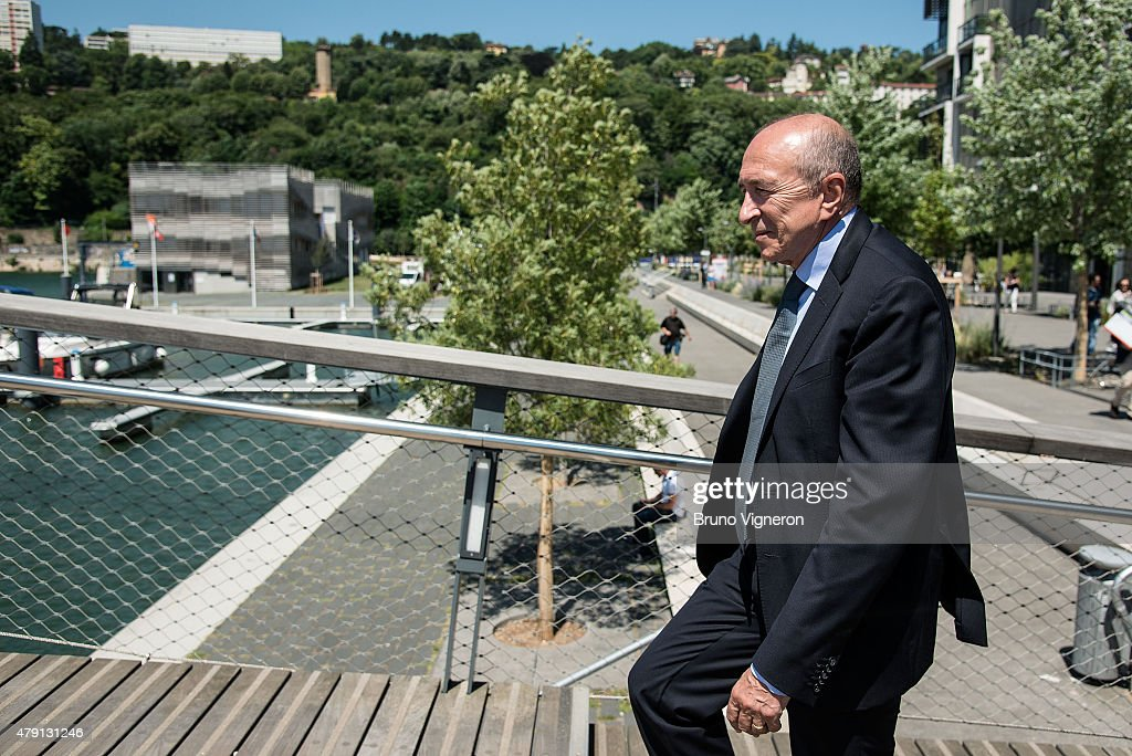 The mayor of Lyon <a gi-track='captionPersonalityLinkClicked' href=/galleries/search?phrase=Gerard+Collomb&family=editorial&specificpeople=672969 ng-click='$event.stopPropagation()'>Gerard Collomb</a>, presents the new area of Lyon to foreign mayors, gathered to address climate change on July 1, 2015 in Lyon, France. France will host a major U.N. climate conference later in the year.
