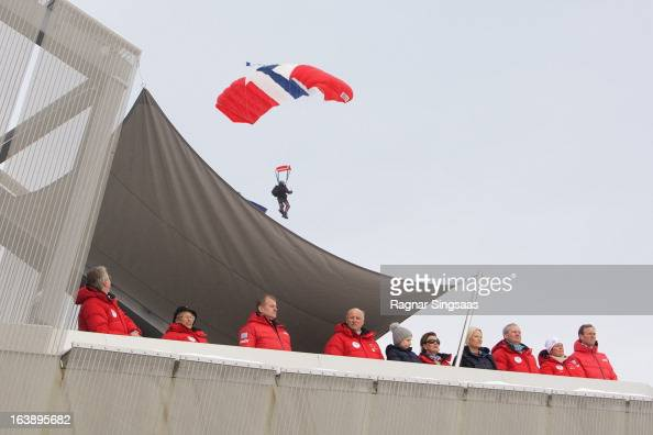 The Mayor of Oslo Fabian Stang Princess Astrid of Norway King Harald V of Norway Princess Ingrid Alexandra of Norway Queen Sonja of Norway and...
