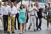 The Mayor of Paris Anne Hidalgo inaugurates 'Paris Plage' on July 20 2016 in Paris France Running until September 4 'Paris Plage' allows the public...