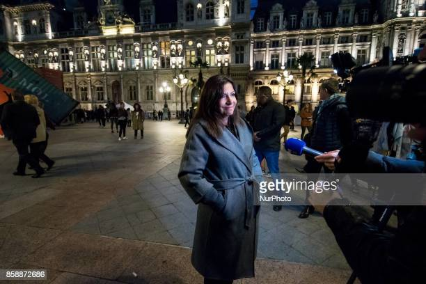 The Mayor of Paris Anne Hidalgo launches the White Night 2017 in front of City Hall on october 7 2017 Each first Saturday in October this event...