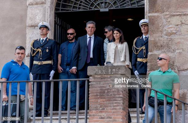 The Mayor of Rome Virginia Raggi and the AntiMafia Magistrate Antonino Di Matteo at the exit of the Campidoglio after the ceremony that awarded him...