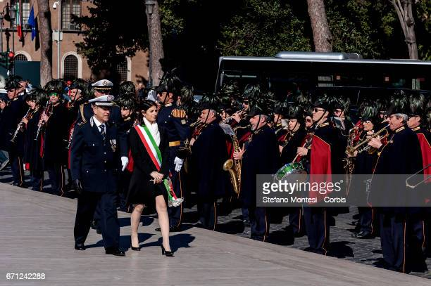 The Mayor of Rome Virginia Raggi attends celebrations for 2770th anniversary of the founding of Rome in Piazza Venezia on April 21 2017 in Rome Italy