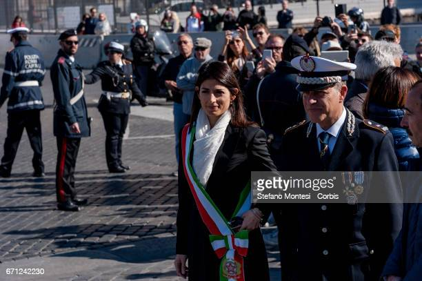 The Mayor of Rome Virginia Raggi attends the celebrations for 2770th anniversary of the founding of Rome in Piazza Venezia on April 21 2017 in Rome...