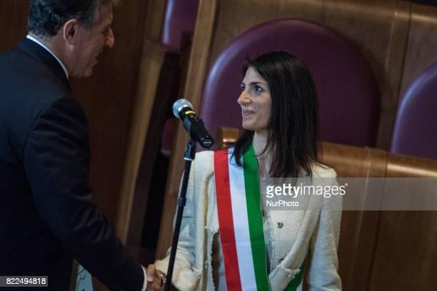 The Mayor of Rome Virginia Raggi awards the Honorary Citizenship of Rome to the AntiMafia Magistrate Antonino Di Matteo in the Julius Caesar Hall of...