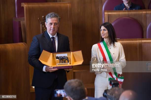 The Mayor of Rome Virginia Raggi confers honorary Citizenship of Rome on Magistrate Antonino Di Matteo