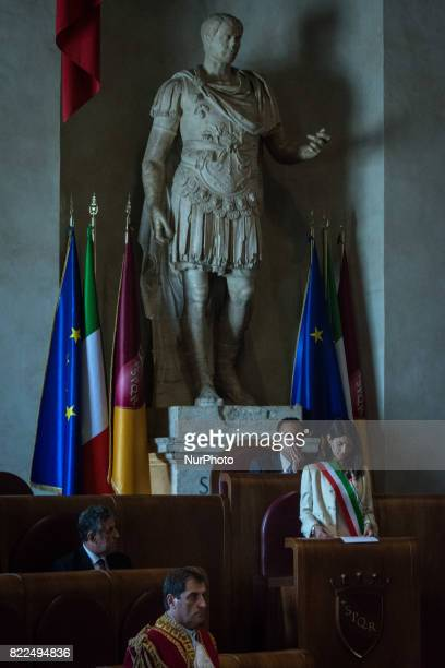 The Mayor of Rome Virginia Raggi during Ceremony of conferring Honor Citizenship of Rome at the magistrate Antonino Di Matteo on July 25 2017 in Rome...