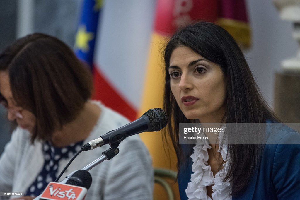 The mayor of Rome Virginia Raggi during presentation of the operation Capitol Open Budget, the online publication of the Capitoline budgets in Rome.