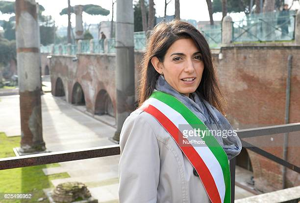 The mayor of Rome Virginia Raggi during reopening the archaeological Area Public Fori Imperiali Italy at Rome on november 24 2016