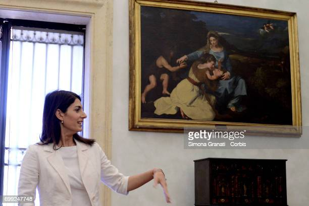 The Mayor of Rome Virginia Raggi during '#RomaRinasce One Year of Results and Future Goals' Press Conference on June 21 2017 in Rome Italy