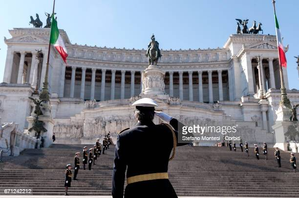 The Mayor of Rome Virginia Raggi during the celebrations for 2770th anniversary of the founding of Rome in Piazza Venezia on April 21 2017 in Rome...