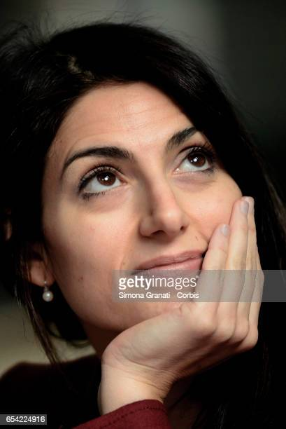The mayor of Rome Virginia Raggi during the press conference at the Via Magnagrecia Market on the revitalization of the local markets on March 16...