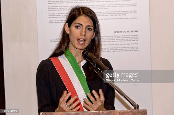 The mayor of Rome Virginia Raggi inaugurates the European Day of Jewish Culture at the Jewish Museum on September 18 2016 in Rome Italy
