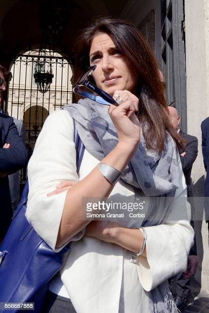 The Mayor of Rome Virginia Raggi leaves Palazzo Chigi after the meeting with the President of the Council of Ministers on October 2 2017 in Rome...