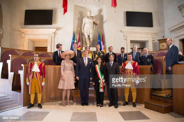 The Mayor of Rome Virginia Raggi meets at the Capitolium the King WillemAlexander and Queen Queen Máxima of the Netherlands